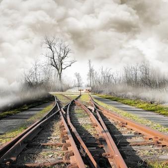 Chemin de fer dans un paysage brumeux