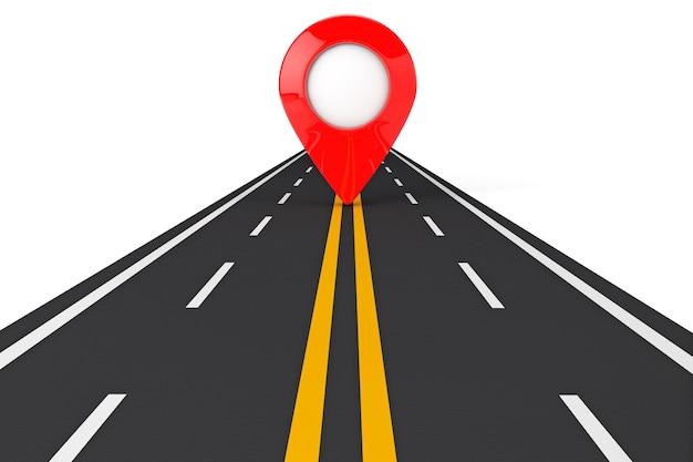 Chemin de la route avec pointeur rouge sur fond blanc. rendu 3d