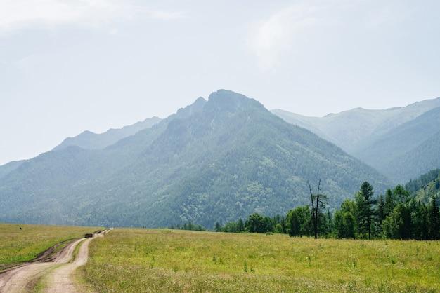 Un chemin de terre sinueux mène à une montagne géante avec une forêt de conifères dans la brume