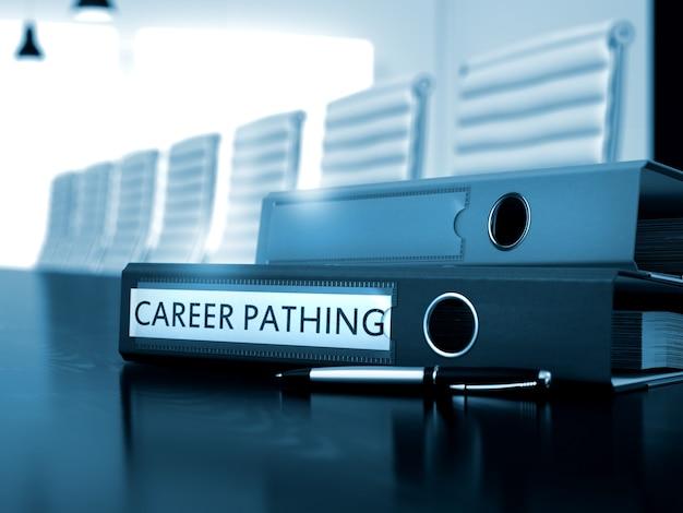 Cheminement de carrière - dossier sur table en bois. cheminement de carrière. illustration sur fond flou. cheminement de carrière - concept. cheminement de carrière - concept d'entreprise sur fond flou. 3d.