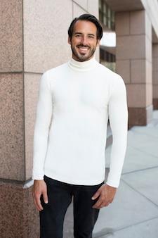 Chemise à col roulé blanche simple style de rue de la mode masculine