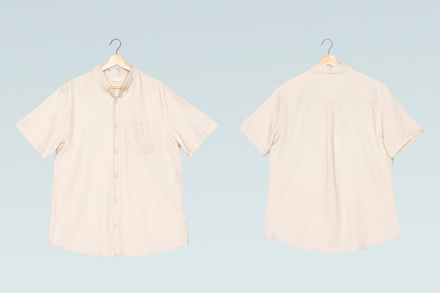 Chemise à manches courtes beige pour hommes vêtements décontractés