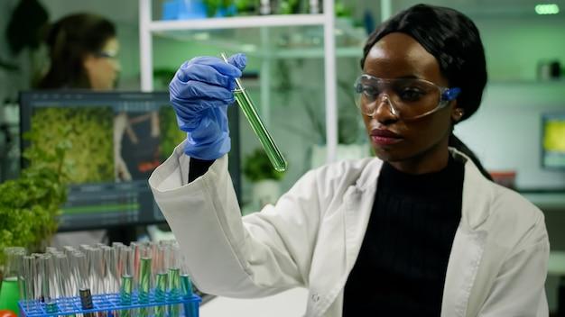 Chercheur africain regardant le tube à essai avec l'adn vert d'arbrisseau