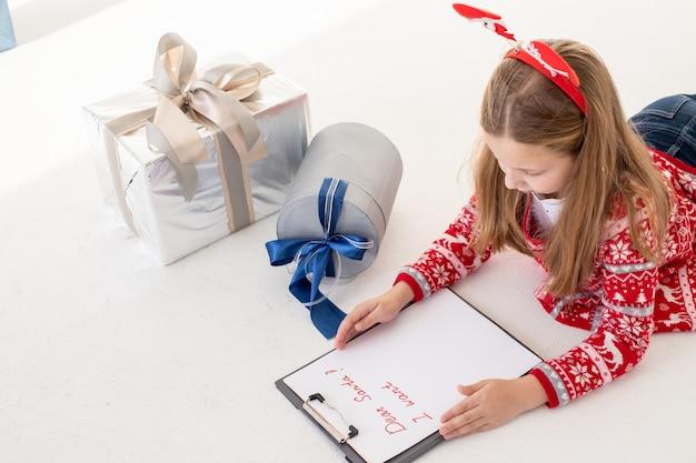 Chère lettre du père noël écrite par un enfant pour noël