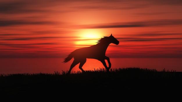 Cheval 3d en cours d'exécution dans un paysage coucher de soleil