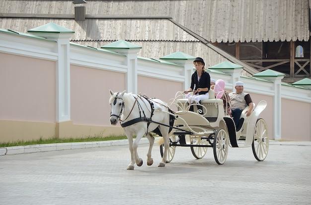 Cheval blanc avec chauffeur de fille dans un chariot à chapeau noir avec des gens de la ville