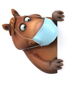 Cheval de dessin animé 3d amusant avec un masque