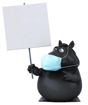 Cheval de dessin animé amusant avec un masque