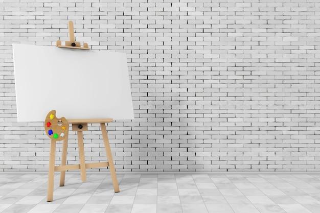 Chevalet d'artiste en bois avec toile blanche et palette devant un mur de briques. rendu 3d.