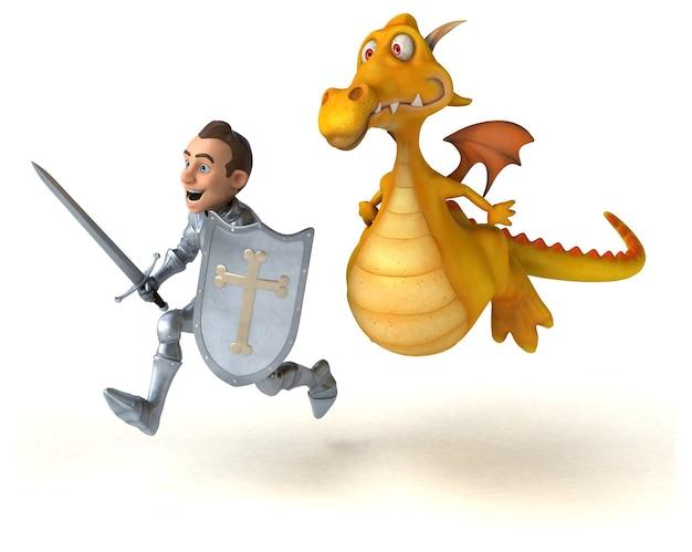 Chevalier et dragon - illustration 3d