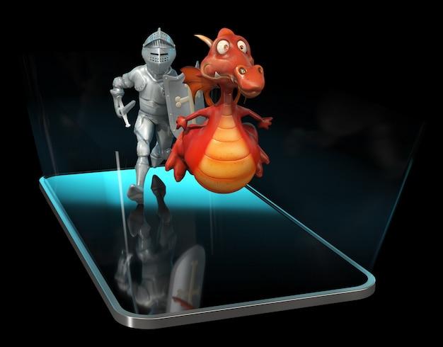 Chevalier et dragon - personnage 3d
