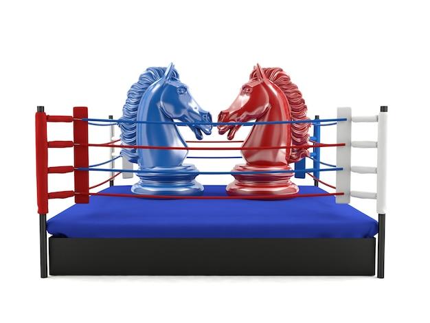 Chevalier d'échecs rouge et bleu face à un ring de boxe, concept de compétition stratégique