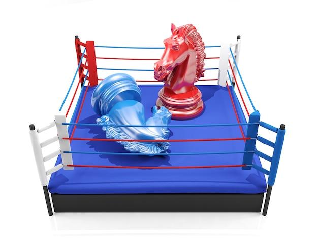 Chevalier d'échecs rouge gagne sur chevalier d'échecs bleu sur le ring de boxe, concept de compétition stratégique