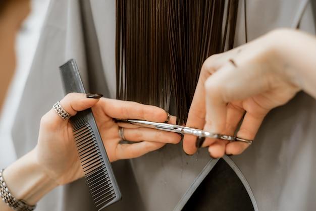 Cheveux longs bruns, toilettage et coupe chez le coiffeur. salon de beauté pour femmes