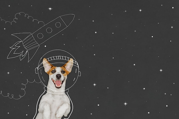 Chien astronaute avec doodle et espace de copie sur tableau noir