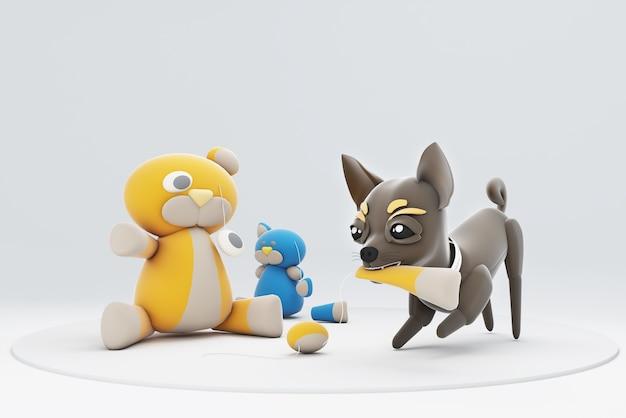 Chien chihuhua jouant avec des jouets
