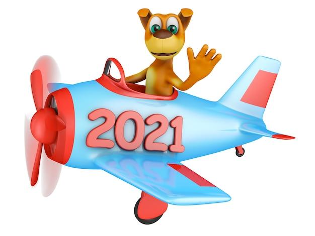 Chien dans un avion avec une inscription 2021 sur fond blanc. rendu 3d.