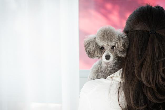 Le chien est appuyé contre l'épaule de son propriétaire et regarde droit devant lui