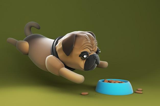 Chien d'illustration 3d sautant dans la nourriture