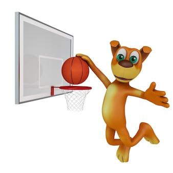 Chien jouant au ballon dans le basket