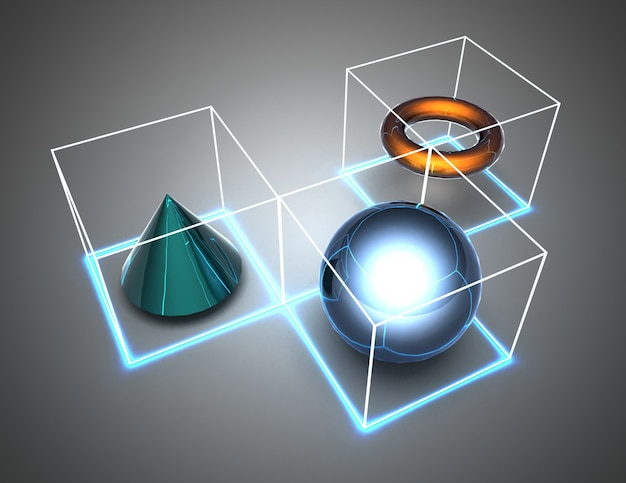 Chiffres abstraits en cubes. illustration 3d