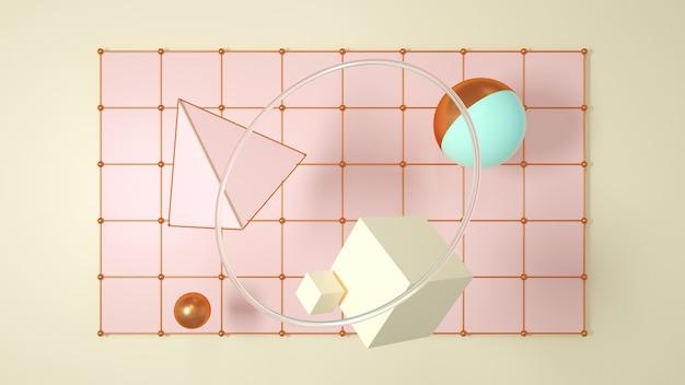Chiffres abstraits primitifs sur un fond doux un rendu 3d de cercle