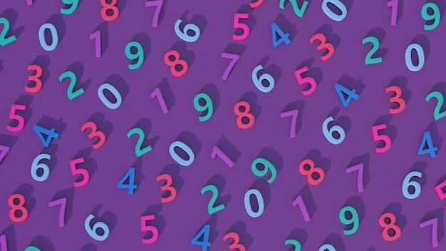 Chiffres colorés. fond violet. illustration abstraite, rendu 3d.
