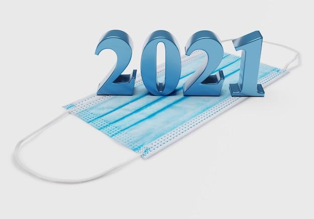 Les chiffres du nouvel an 2021 se trouvent sur un masque médical