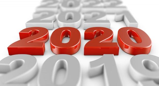 Chiffres volumineux rouges 2020 sur fond blanc.