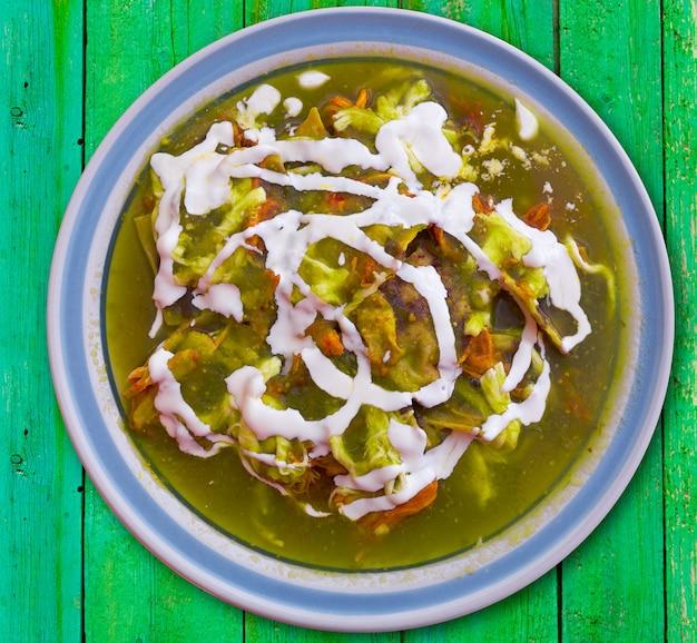 Chilaquiles verdes green mexique recette