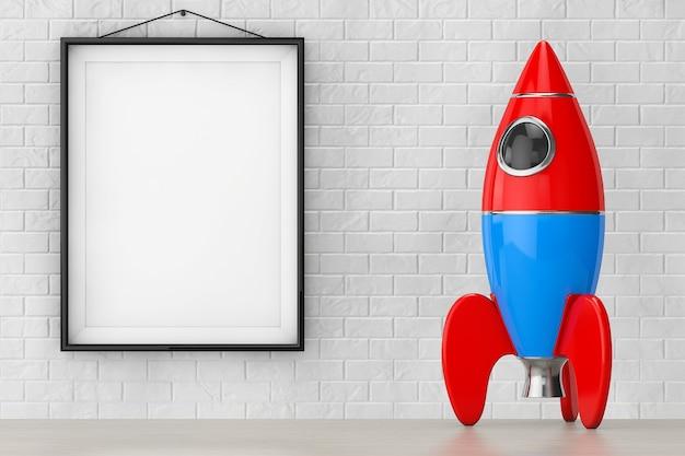 Childs toy rocket en face de mur de briques avec gros plan extrême blank frame. rendu 3d