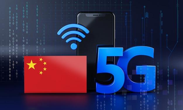 La chine est prête pour le concept de connexion 5g. fond de technologie smartphone de rendu 3d