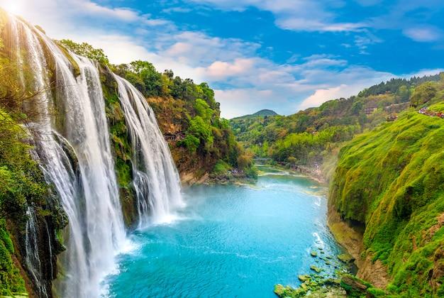 Chine, mousse, rivières, montagnes, réflexion