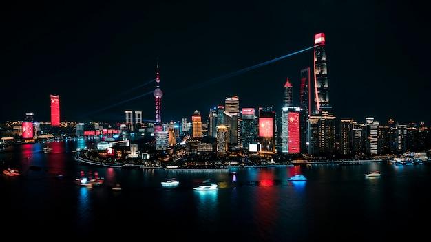 Chine, shanghai, bund, fête nationale, 70e anniversaire, bord de mer, paysage de nuit, oriental pearl tower, ville, architecture, éclairage, emblème,