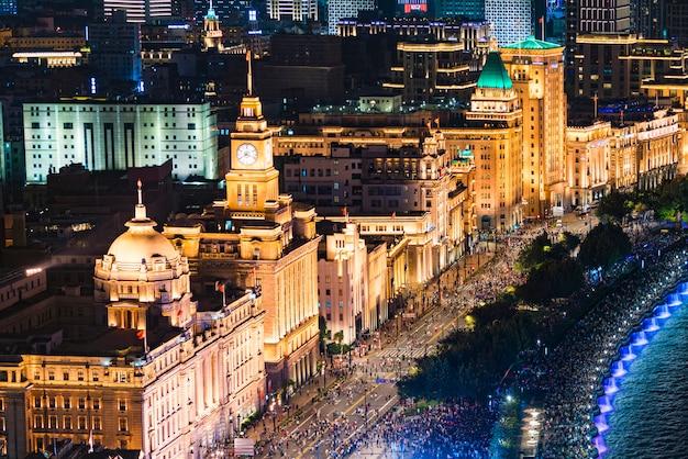 Chine, shanghai, bund, fête nationale, 70e anniversaire, bord de mer, vue de nuit, ville, voiture, ciel bleu, nuages blancs,