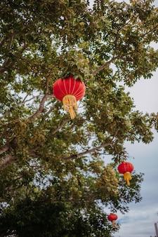 La chine voyage des lanternes rouges chinoises dans le parc naturel pour la bannière de célébration lunaire du nouvel an chinois.