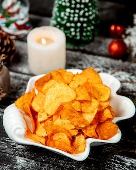 Chips en assiette et cande