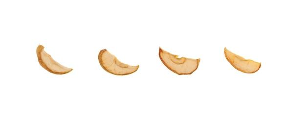 Chips de pomme isolés sur fond blanc