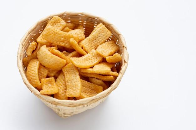 Chips de pommes de terre, snack enrobé de caramel