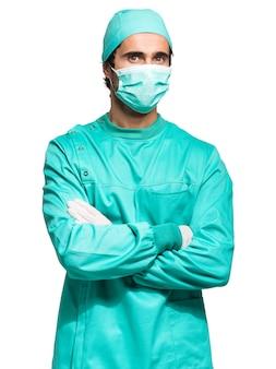 Chirurgien isolé sur blanc