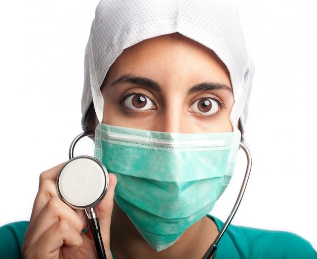 Chirurgien portrait gros plan isolé