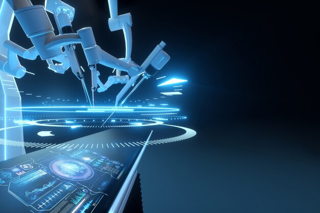 Chirurgien robot, équipement robotique. innovation chirurgicale minimalement invasive avec vue d'ensemble en trois dimensions. technologie, avenir de la médecine, chirurgien. rendu 3d, illustration 3d.