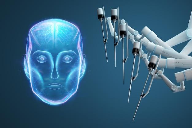 Chirurgien robot, équipement robotique, manipulateurs. innovation chirurgicale minimalement invasive avec vue d'ensemble en trois dimensions. la technologie, l'avenir de la médecine, chirurgien. rendu 3d, illustration 3d.