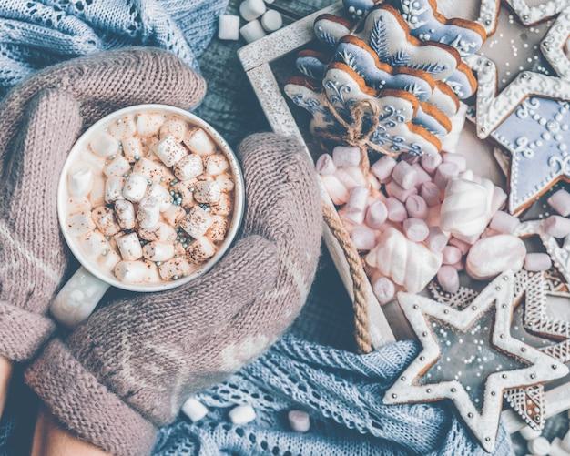 Chocolat chaud avec des bonbons à la guimauve et des biscuits en pain d'épice mains féminines dans des mitaines tenant une tasse de cococa chaud