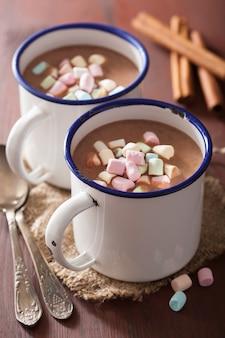 Chocolat chaud avec mini guimauves et cannelle