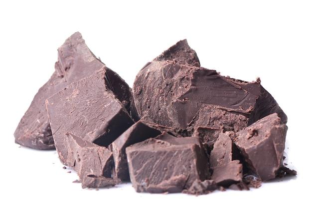 Chocolat sur fond blanc