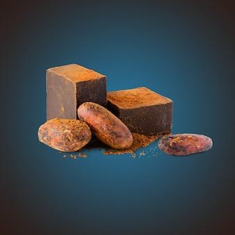Chocolat noir et fèves de cacao en poudre