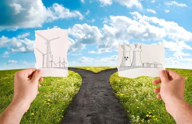 Choisissez la source d'énergie alternative, éolienne ou nucléaire