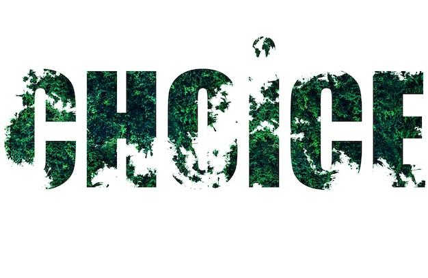 Le choix de mot parmi les feuilles et l'herbe verte. isolé sur fond blanc. tendances environnementales. concept écologique.