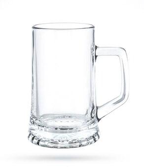 Chope de bière vide isolé sur blanc